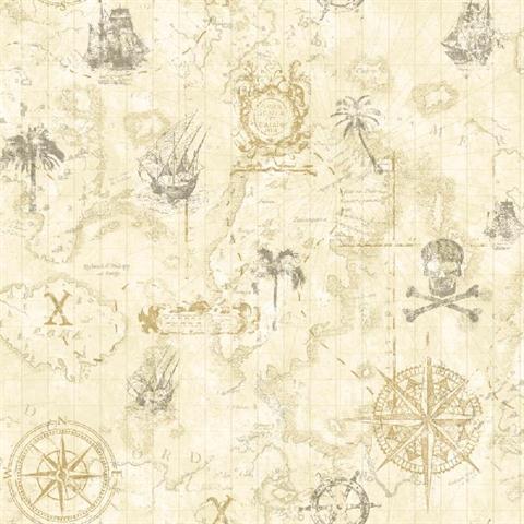 Ks2337 Beige Pirate Map Wallpaper Totalwallcoveringcom