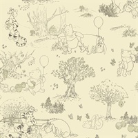 Pooh & Friends Toile Wallpaper