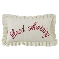Prescott Red Good Morning Embroidery Pillow