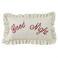 Prescott Red Good Night Embroidery Pillow