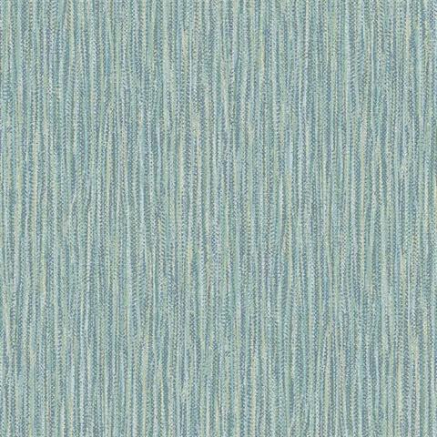 Raffia Thames Aqua Faux Grasscloth Wallpaper