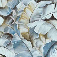 Ramsay Blue Banana Leaf Wallpaper