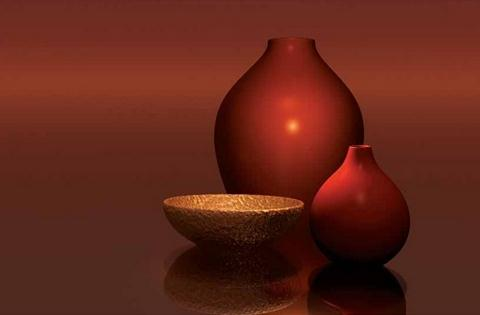 Red Vases with Bowl