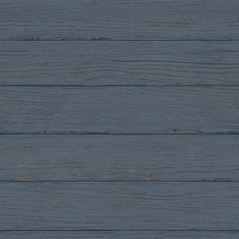 Rehoboth Navy Distressed Wood Wallpaper