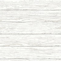 Rehoboth White Distressed Wood Wallpaper