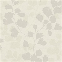 Ripert Light Grey Leaf Silhouette Wallpaper