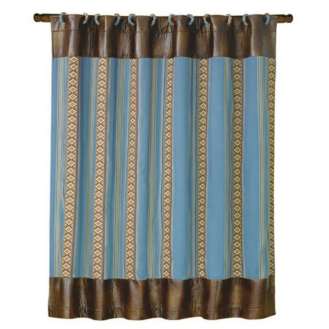 Ruidoso Blue Striped Shower Curtain , WS4066SC | TotalWallcovering