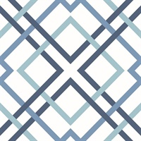 Saltire Emile Blue Lattice Wallpaper