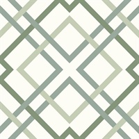 Saltire Emile Green Lattice Wallpaper