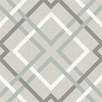 Saltire Emile Taupe Lattice Wallpaper