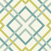 Saltire Emile Turquoise Lattice Wallpaper