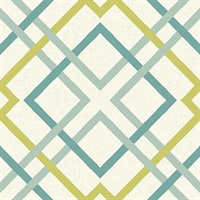 Saltire Green Geometric Wallpaper