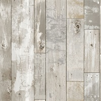 Deena Light Grey Weathered Wood Wallpaper