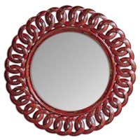 Sassia Red Round Mirror