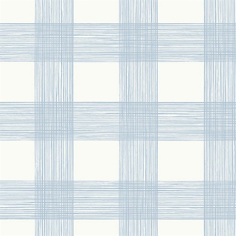 Scarborough Light Blue Striated Plaid Wallpaper
