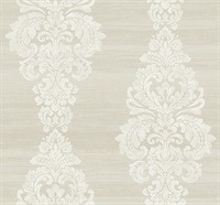 Scroll Damask Striped Wallpaper