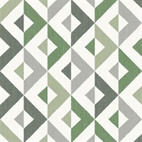 Seesaw Green Geometric Faux Linen Wallpaper