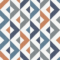 Seesaw Multicolor Geometric Faux Linen Wallpaper