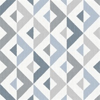 Seesaw Slate Geometric Faux Linen Wallpaper