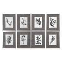 Sepia Gray Leaves Prints S/8