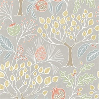 Shiloh Light Grey Botanical Wallpaper