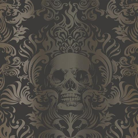 TOT47111 Silver Gold And Black Skull Damask Wallpaper