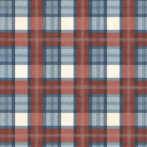 Tot47261 Red White And Blue Sports Plaid Wallpaper