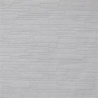 Stacked Stone Paintable Wallpaper - White