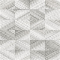 Stratum Grey Geometric Faux Wood Wallpaper