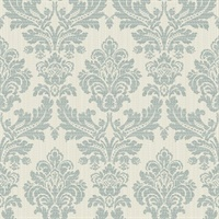 Piers Teal Texture Damask Wallpaper