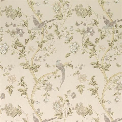 3519608 Summer Palace Taupe Ivory Floral Wallpaper