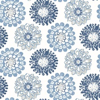 Sunkissed Blue Floral Wallpaper
