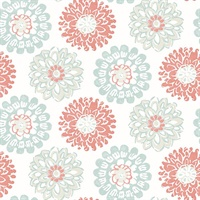 Sunkissed Coral Floral Wallpaper