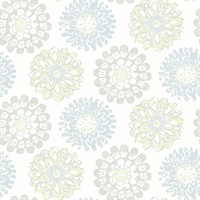 Sunkissed Light Green Floral Wallpaper