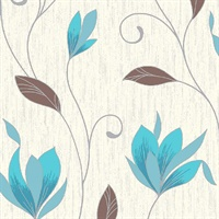Synergy Teal Floral Trails Wallpaper