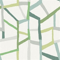 Tate Green Geometric Linen Wallpaper