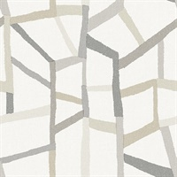 Tate Grey Geometric Linen Wallpaper