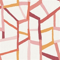 Tate Pink Geometric Linen Wallpaper