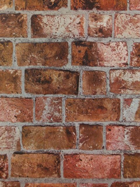 Brick Wall Paper he1046 | rust colored textured brick | totalwallcovering