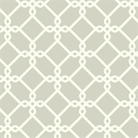 Ashford House Threaded Links Wallpaper - White/Gray