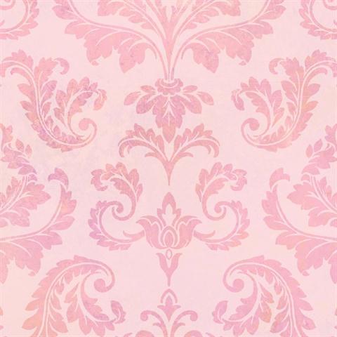 TOT47143 Pink Tie Dye Damask Textured Wallpaper
