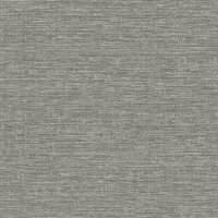 Tiverton Charcoal Faux Grasscloth Wallpaper