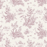 Toile Wallpaper in Plum, Burgundy & Cream
