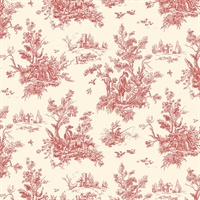Toile Wallpaper in Reds & Beige