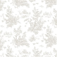 Toile Wallpaper in Taupe & Wool Brown