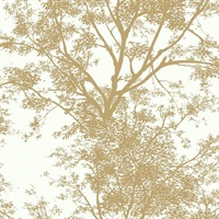 Ashford House Tree Silhouette Sidewall Wallpaper - Gold