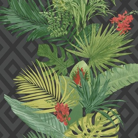 ON1629, Wallcovering, Tropical Oasis Stripe Wallpaper