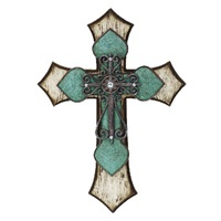 Turquoise, Wood and Iron Cross