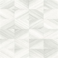 Stratum White Geometric Wood Wallpaper