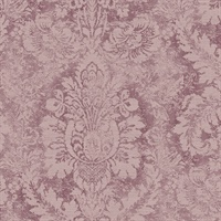 Valentine Damask Wallpaper in Plum & Burgundy
